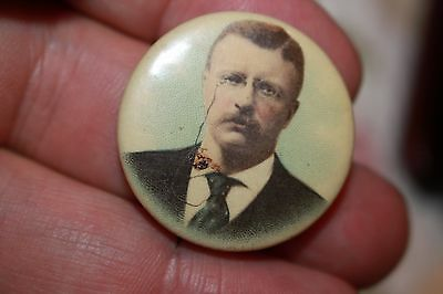 Teddy Roosevelt Colorized photographic Presidential Pin large portrait
