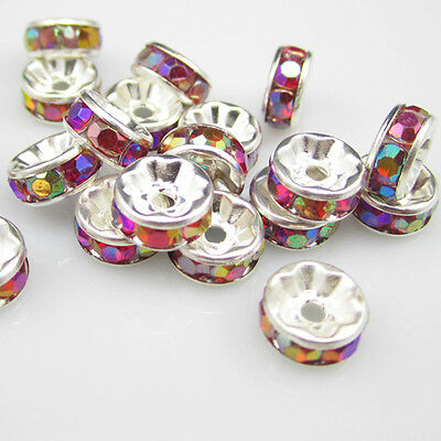 NEW for Fashion 100pcs Size 8MM Plated silver crystal spacer beads Red AB colors
