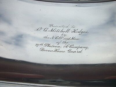Unusual Ww2 Devon Home Guard Presentation Fruit Bowl Named To An Officer