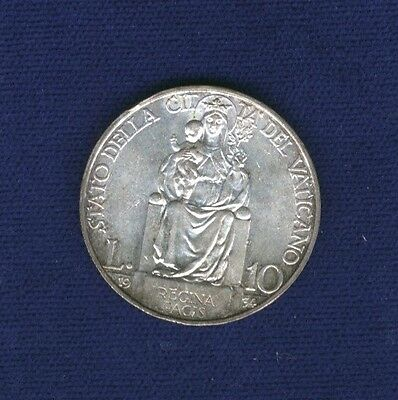 Vatican City Pope Pius Xi  1933-34 Yr. Xiii  10 Lire Silver Coin, Uncirculated