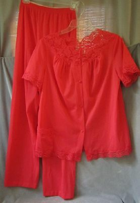 Vintage Nylon and Lace Pajama Set Vanity Fair Womens Size 34 Hot Red