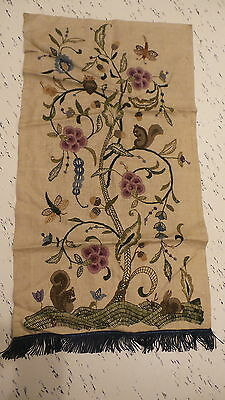 "Antique EMBROIDERED TAPESTRY Ecru Linen,Wool,Floral,Animals,Fringed 35""x19"""