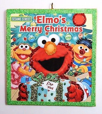 ~ Sesame Elmo w/Gift  Merry Christmas ~  glittered wood Xmas Ornament repro img