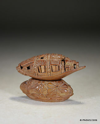 Antique Chinese Hediao Coquilla Nut Boat & Stand with Calligraphy Poem 19th Cent