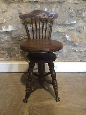 Antique Piano Stool / Seat with Back - Ball and Claw Feet    #288