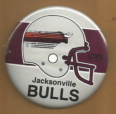 Jacksonville Bulls ~ USFL Licensed Button ~Warehouse Find~Excellent Condition