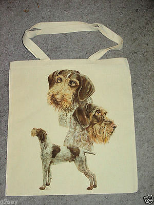 3 German Wirehair Pointer Dogs Tote Canvas Bag