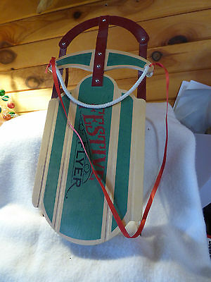 15 INCH FESTIVE FLYER WOODEN with METAL RUNNERS SLED
