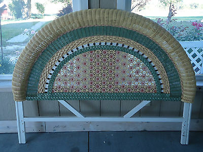 Vintage Solid Wooden Wicker Colorful Full Size Headboard Frame Rattan Curved