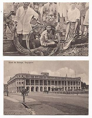 SINGAPORE - How to Catch a Crocodile, and 3 others; Four 1920s Printed Cards.
