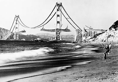 "1936 SAN FRANCISCO GOLDEN GATE BRIDGE CONSTRUCTION~NEW 24""x35"" LARGE WALL POSTER"