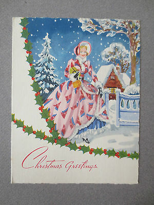 Vintage CHRISTMAS Card Crinoline Lady With Presents Snowy Scene Holly 1950s