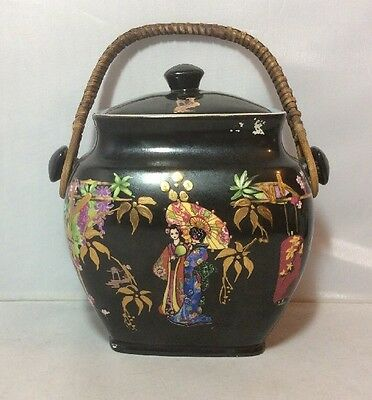 Vintage 1920's 1930's Grimswade Rubian Art Pottery Biscuit Barrel Chinoiserie