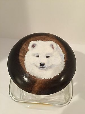 New Samoyed Cookie Jar Wooden Top With Handpainted Puppy by  Nan Holt
