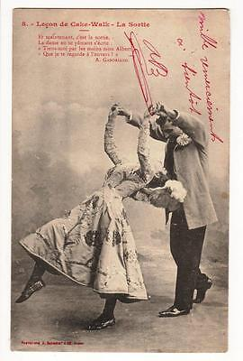 Vintage French Postcard,lesson In The Cake Walk,la Sortie,1905, A Bergeret