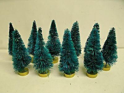 "Lot of 20 Sisal Trees Blue Spruce Green   - 2.75-3"" Christmas Holiday Miniatures"