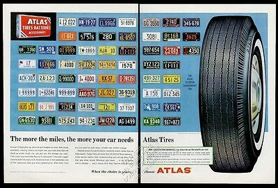 1962 ALL US and Canada license plates Atlas tires vintage print ad