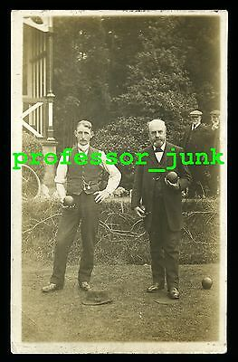 BOWLS Bowlers BOWLING - Rare Antique Real Photographic Postcard  RPPC Lawn Bowls