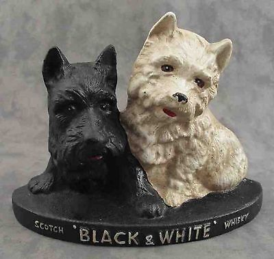 SCOTTIE SCOTTISH TERRIER BLACK & WHITE SCOTCH WHISKY Cast Iron DOORSTOP STATUE