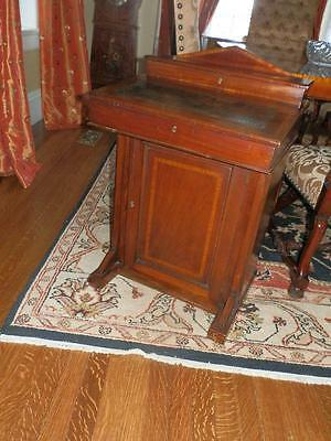 Late Victorian Period Antique Davenport Writing Desk W/Leather