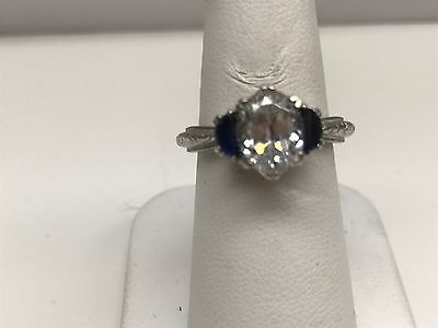 Tacori Engagement Ring Large Center CZ And Half Moon Sapphires Size 7