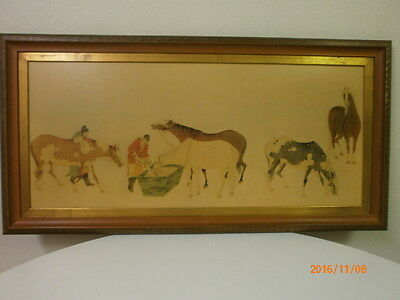 CHINESE EQUESTRIAN PRINT HORSES delicate print CHINESE artist on wood painting