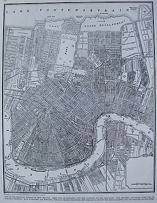 1942 Antique NEW ORLEANS Map Black and White Map of New Orleans Print #3350