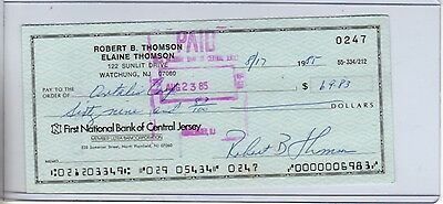 ROBERT THOMSON SIGNED PERSONAL CHECK  GIANTS (d.2010)