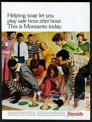1967 Twister game photo Monsanto chemicals vintage print ad