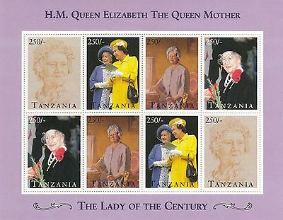 (70782) Tanzania MNH Queen Mother Lady of Century minisheet unmounted mint