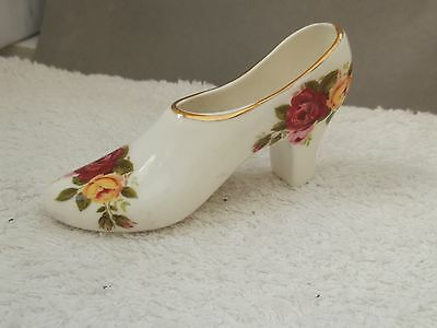 Small Decorative China High - Heeled Shoe With A Roses Pattern  English Made