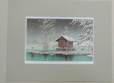 "Matted Print Kawase Hasui Japan Kansa no Miya Shrine  8 x 10"" Sealed Gray Mat"