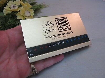 Vtg 1982 50 years General Telephone of Indiana advertising brass thermometer