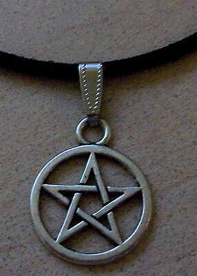 """Silver Pentacle Pendant With 18"""" Suede Cord~Pagan Wicca Witch Druid"""