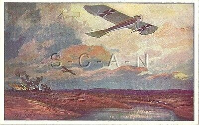WWI German PC- Air Force- Airplane- Monoplane Flies over Front Lines- PM 1915