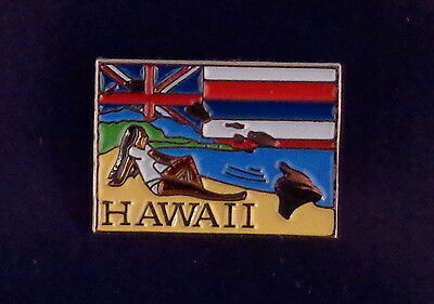 Hawaii State Shaped Map Lapel Pin HI state flag GIRL ON BEACH