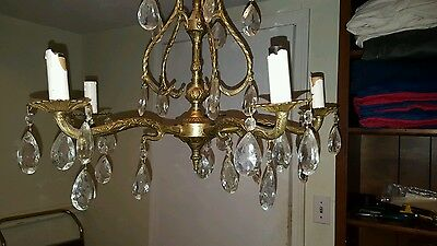 Vintage Ornate Brass 5 Light Chandelier With 40 Crystal Prisms Made in Spain