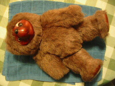 Sherwood Teddy Bear By Applause Hand Carved Wood Plush Stuffed Estate Sale Find