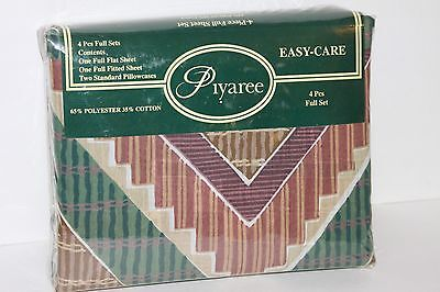 Vtg Piyaree Southwestern Full Set Easy-Care Flat Fitted Sheets Pillowcases