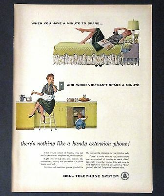 1960 Bell Telephone System Advertisement AD Extension Phone House Wife MCM
