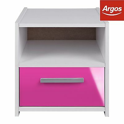 Kids' New Sywell 1 Drawer Bedside Cabinet - White/Pink Gloss -From Argos on ebay