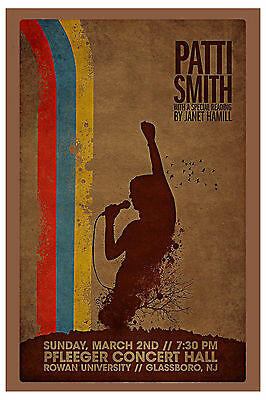 PUNK: Patti Smith at Fleeger Concert Hall in New Jersey Concert Poster
