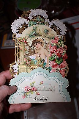 Die-cut mechanical German Large Victorian Valentine expendable card