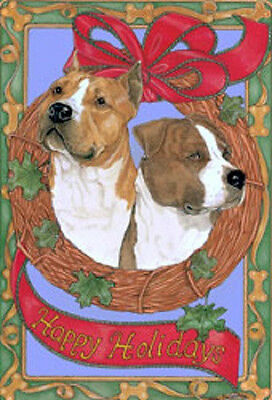 Ten Cards Pack AM STAFF/PITBULL Dog Breed Christmas Cards