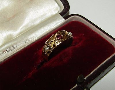 Fine, Victorian, 15 Ct Gold Ring With Ruby And Seed Pearls, Chester 1883
