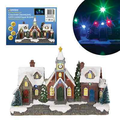 New Light Up Colour Changing LED Christmas Village Scene Battery Operated Xmas