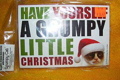 Grumpy Cat 8 Blank Notecards And Envelopes, Grumpy Little Christmas , New