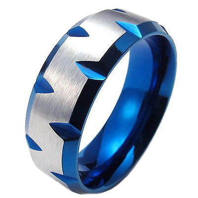 Men/'s Blue Edge Faceted 8mm Stainless Steel Ring  US Size 7-15 Half Size SR12