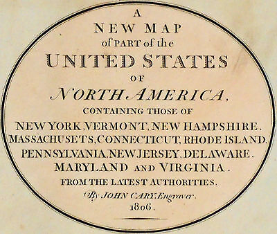1806 Large Antique Map Chart John Cary United States USA Hand-Color Folio