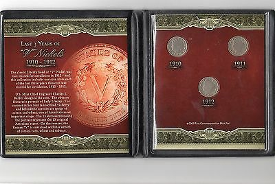 "First Commemorative Mint Inc. Last Three Years Of The ""v"" Nickel 1910 1911 1912"